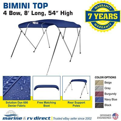 """Bimini Top Boat Cover 4 Bow 54"""" H 85"""" - 90"""" W 8 ft.  L. Solution Dye Navy Blue"""