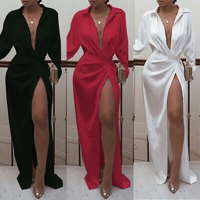 Women Sexy V-Neck Split Long Dress Ladies Long Sleeve Party Cocktail Slim Dress