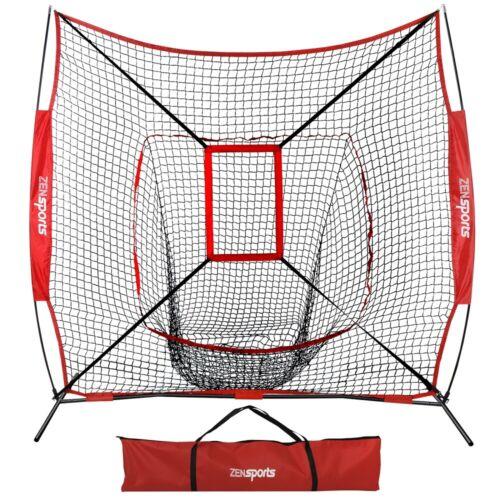 7×7 Ft Baseball Softball Teeball Practice Batting Training Net w/ Strike Zone Baseball & Softball