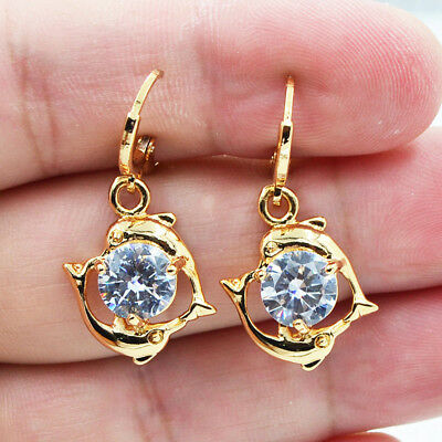 18K Yellow Gold Filled Dolphin Hollow White Round Topaz Zircon Drop Earrings