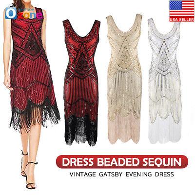 Women's 1920s V Neck Flapper Dress Beaded Sequin Vintage Gatsby Evening Dress - Gatsby Attire For Women