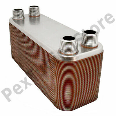 20-plate 4-14 X 12 Brazed Plate Heat Exchanger 1 Mpt Ports 316l St. Steel