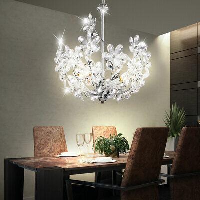 LED Techo Lámpara Araña Péndulo Lámpara Colgante Flores Diseño Lámpara Cromo