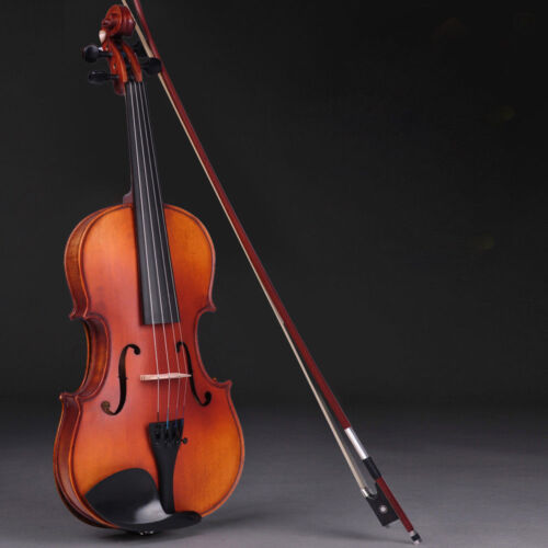 Full Size 4/4 Violin Handed Natural Acoustic Fiddle with Case Bow Rosin US Stock