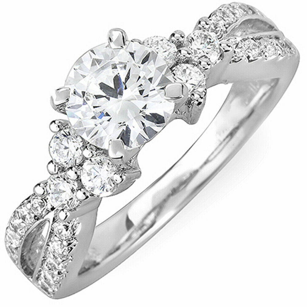 GIA Certified Round Diamond Engagement Ring 18k White Gold 1.30 Carat total