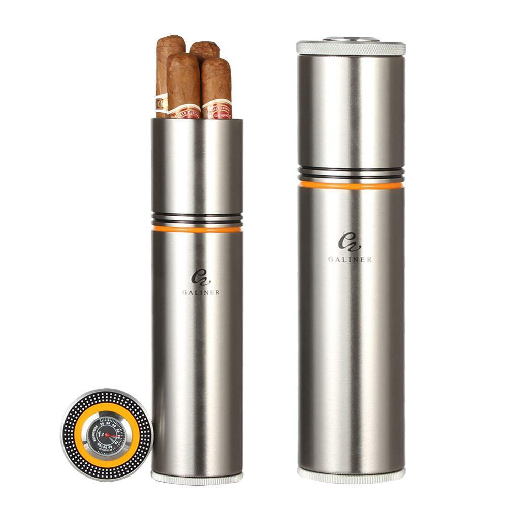 GALINER Silver Travel Cigar Hydrating Tube Humidor Case With