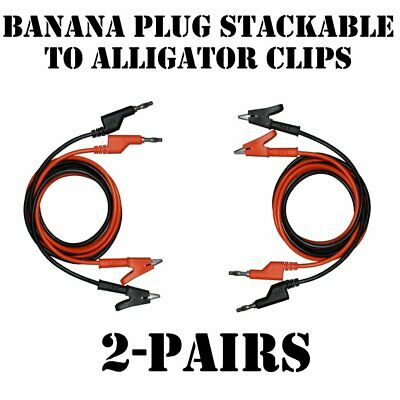 AST Lab Test Lead Alligator Clips to Banana Plug Stackable 3 ft ( #998-019Q2) ()
