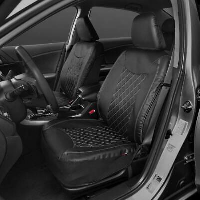 Motor Trend PU Leather Seat Covers for Car - Gray Cross-Stitch Pattern