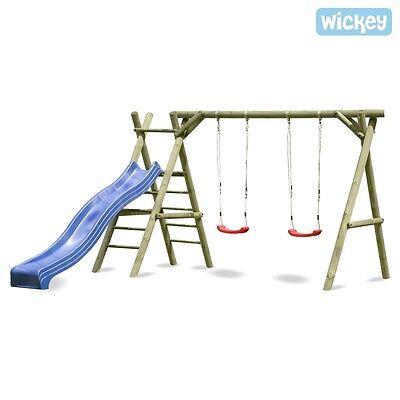 WICKEY Schaukelgestell Schaukelgerüst ohne Rutsche Doppelschaukel Holzschaukel