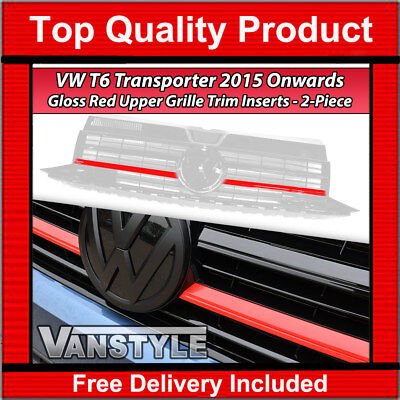 VW T6 TRANSPORTER GLOSS RED ABS SPORTLINE STYLE UPPER RADIATOR GRILLE INSERTS