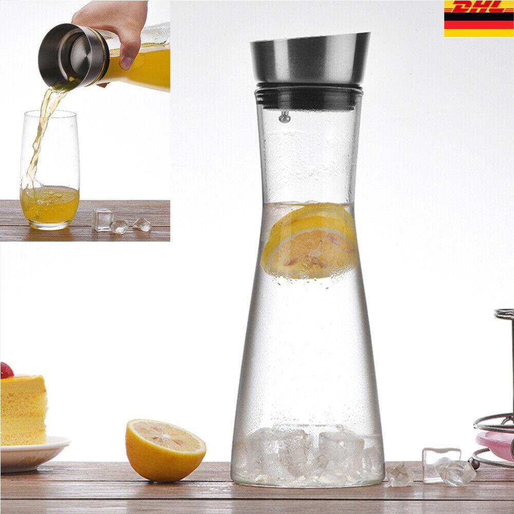 Wasserkaraffe 900ml Glas-Karaffe Krug Glaskaraffe Deckel Edelstahl-Ausgiesser