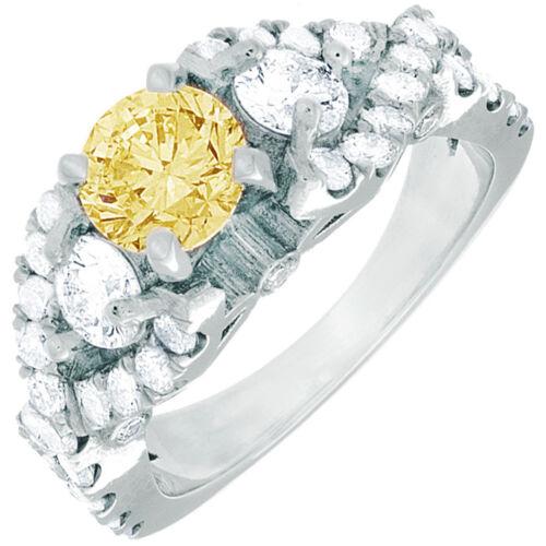 Fancy Yellow Round Diamond Engagement Ring GIA Certified  3.25 CT. Platinum