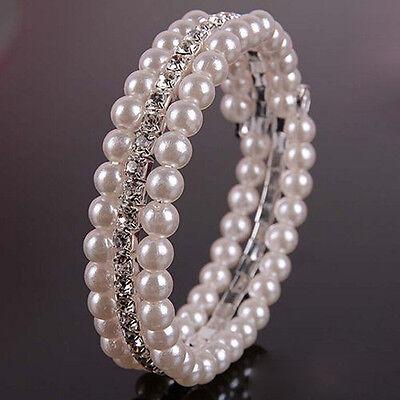 98B 3 Row Bridal SP Rhinestone Crystal White Pearl Coil Bracelet & Gift -