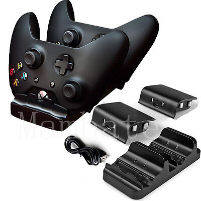 Dual Charging Station Dock Stand   2 Batteries For Xbox One Wireless Controller