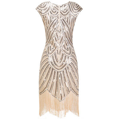 1920s Flapper Great Gatsby Dress Cap Sleeve Retro Sequin Fringe Party Costumes - Retro Party Costumes