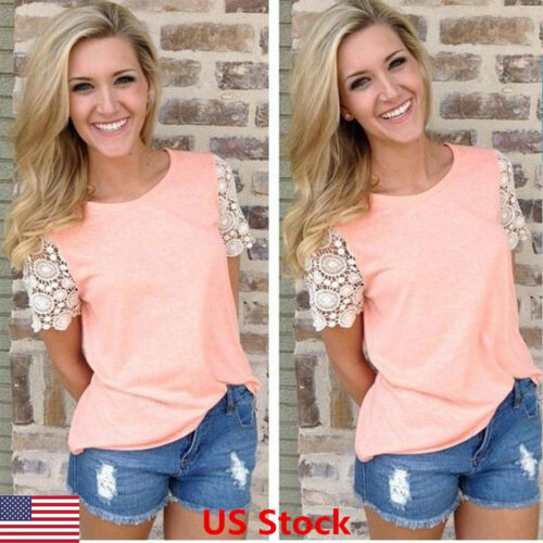 New Fashion Women Summer Short Sleeve Vest Top Blouse Casual