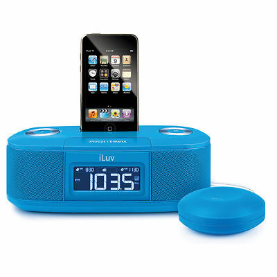 iLuv Shake and Wake Alarm Clock Radio for 30 Pin iPhone iPod - Blue iMM153BLU