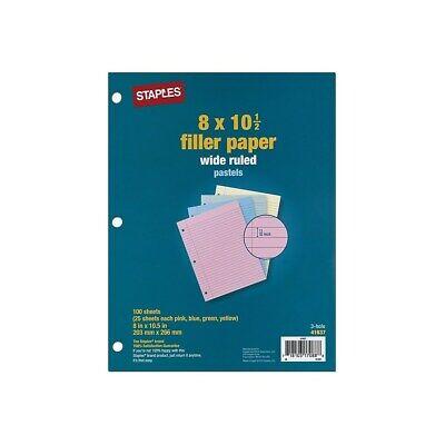 Staples Pastel Filler Paper 8 X 10-12 100 Sheetspack 41637 421134
