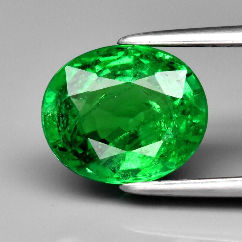 2.20ct 8.5x7.2mm Oval Natural Shocking Green Tsavorite Garnet, Tanzania