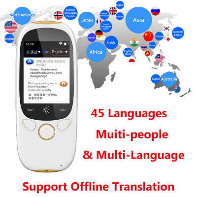 "Boeleo K1 2.0"" Smart Language Translator Voice 45 Languages BT Translation V4W9"