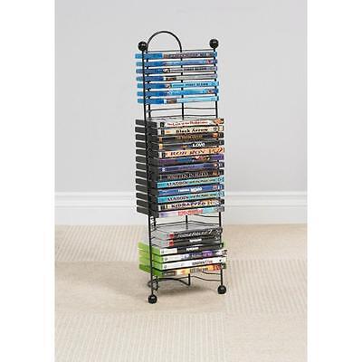 DVD Tower Stand Video Wire Rack Movie Storage Shelf Organizer Blu-Ray Black Disk