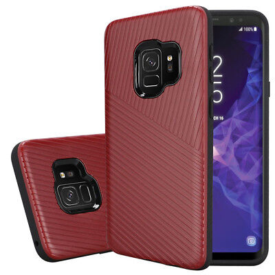 For Samsung Galaxy S9 Textured Embossed Lines Tough Hybrid Cover Phone -