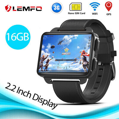 Wifi Bluetooth Handy (LEMFO LEM4 Pro 2018 Smart Watch Phone 3G WIFI 16GB GPS Handy Uhr für Android IOS)