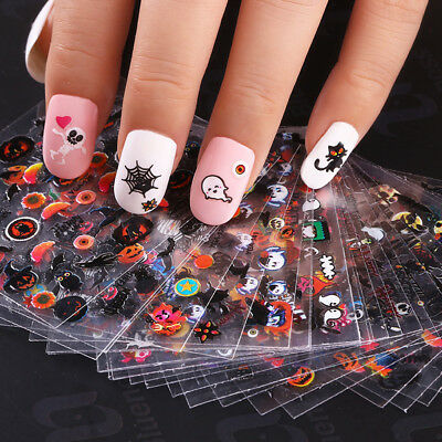 1set Cartoon Halloween 3D Nail Art Sticker Multi Design Manicure DIY Acces NEW