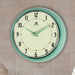 Infinity Instruments- Round Metal Retro 9.5 in. Wall Clock, Green