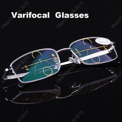 Reading Glasses Add +1.00 to +4.00 Progressive Varifocal Lens Half-Metal (Add Lenses To Frames)