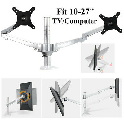 """10-27"""" Double Arm Dual Screen Desktop Monitor Holder Table S"""
