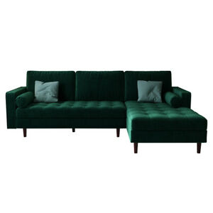Claude 3 Seater Velvet Sofa With Chaise - Dark Forest Green