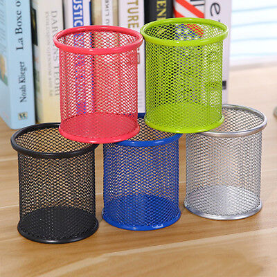 5 Colour Rack Steel Mesh Pencil Pen Round Holder Container Home Office Supplies