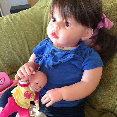 28'' Handmade Silicone Vinyl Reborn Baby Girl Toddler Doll Lifelike Bebe Newborn comprar usado  Enviando para Brazil