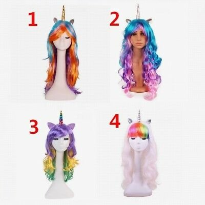 Rainbow Unicorn Wig Unicorn Party halloween costume child teen adult one - Childrens Wigs Halloween