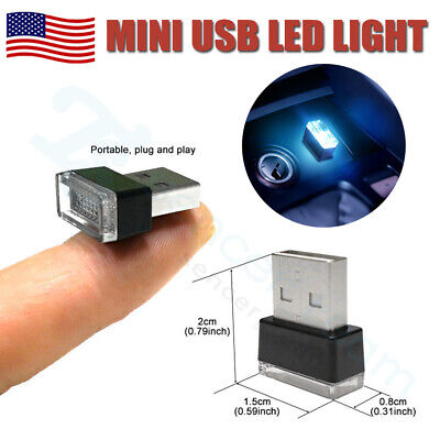 Mini USB Icy Blue LED Car Interior Light Neon Atmosphere Ambient Lamp Bulb 1PC
