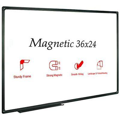 Magnetic Whiteboardwhite Board Dry Erase 36 X 24 Inch Black Aluminum Frame