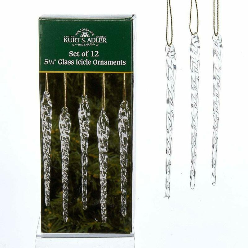 Twisted Clear Icicle Glass Christmas Ornaments Set of 12 Pieces Decoration