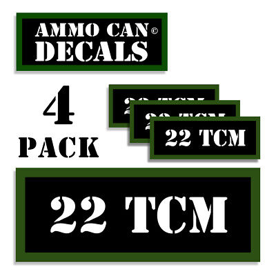 22 TCM Ammo Can LABELS STICKERS DECALS for Ammunition Cases