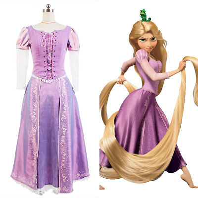 Disney Tangled Princess Rapunzel Party Dress COSplay Costume Adult Kids Size - Rapunzel Costume Women