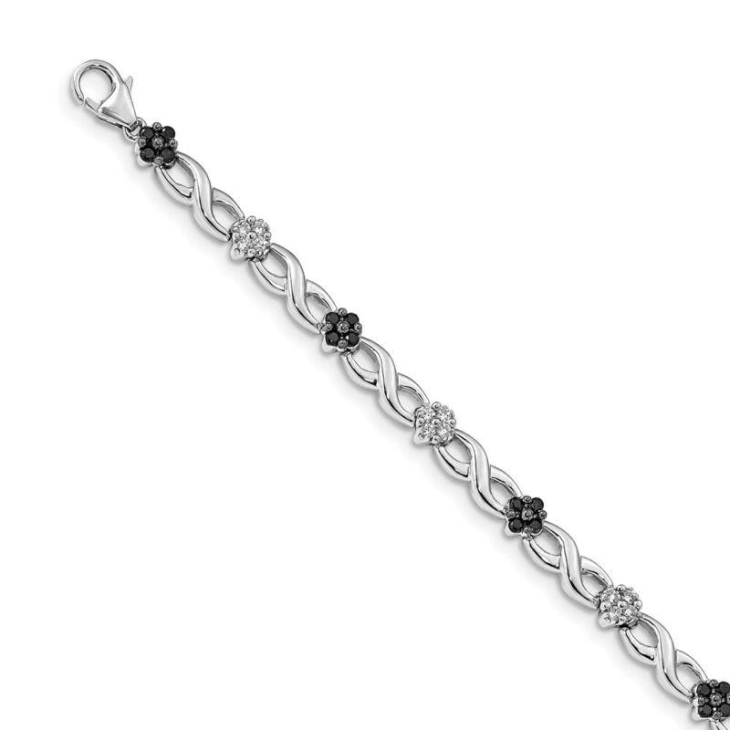 14k 14kt White Gold  White & Black Diamond Bracelet 5mm 7 inch