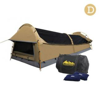 AUS FREE DEL-Double Camping Canvas Swag Tent Beige w 2 Air Pillow
