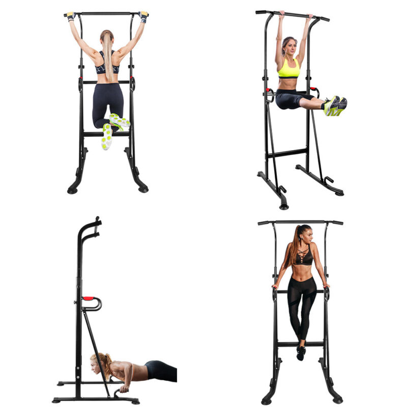 Adjustable Dip Station Chin Pull Up Bar Power Tower Home Gym Core Fitness OT130