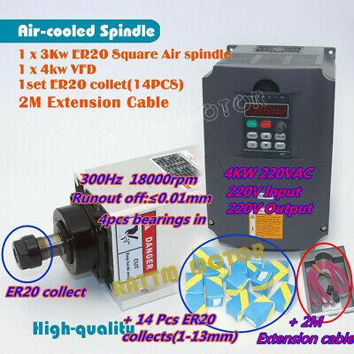 4kw Hy Vfd Inverter3kw 220v Air Cooled Spindle Motor Er20collet F Cnc Milling