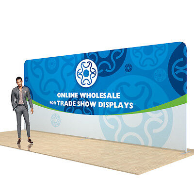 20ft Straight Pop Up Display Back Wall Fabric Tension Trade Show Display Single