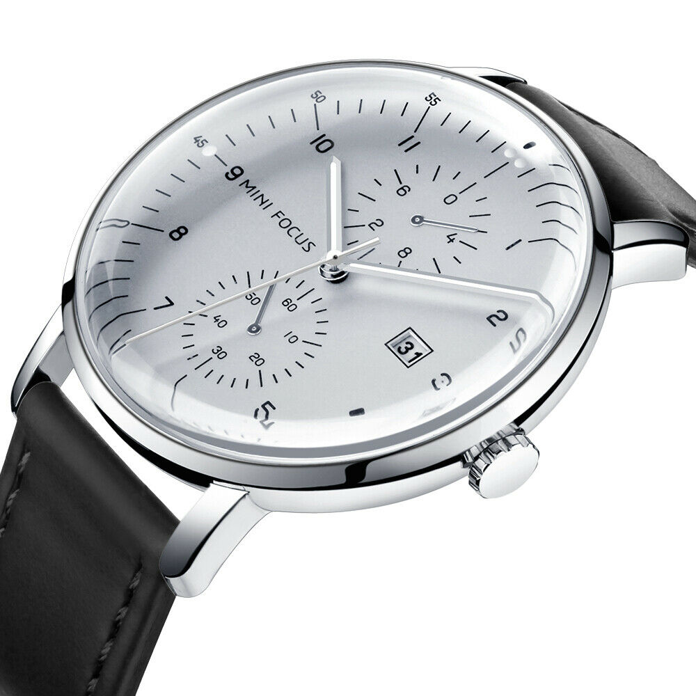 Herrenuhr Armbanduhr Leder / Mesh Edelstahl Schwarz Analog Quarz Uhr NEU