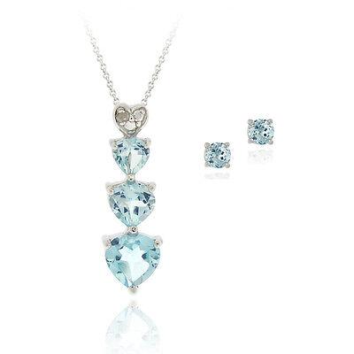 925 Silver 2.25ct Blue Topaz & Diamond Heart Necklace & Earrings Set