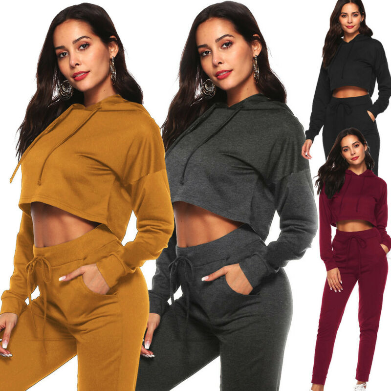 2pcs/set Women Tracksuit Jogging Sports Hoodies Sweatshirt Crop Top  Pants Suit