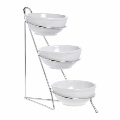 Expressly Hubert Small 3-tier White Bowl And Silver Wire Display Stand - 8l X
