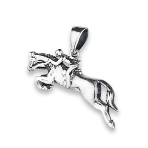 Sterling Silver Jumping HORSE Pendant Horseracing Jewelry 925 Charm